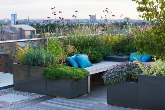 Charlotte Rowe gradina pe acoperis jardiniere metalice plante perene flori ierburi decorative graminee culoare lounge terasa mare balcon mare amenajare gradina peisagist desig gradina simpla