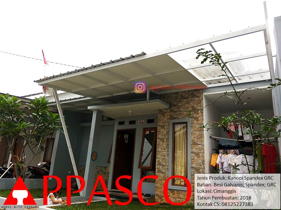 Kanopi Minimalis Spandek GRC Peredam Kombinasi Spandek Transparan untuk Jemuran di Cimanggis