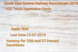 SECR Recruitment 2019- Apply for 432 Trade Apprentice Posts