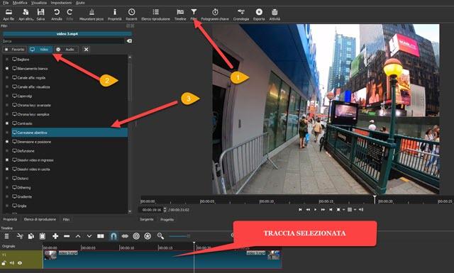 filtro video correzione obiettivo di shotcut