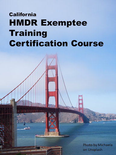 California Exemptee Training Certification - for home medical device retailers.  If you are applying for a California Exemptee license, you'll need to include proof of required training in your application. Take this online course to earn a course completion certificate for your license application.