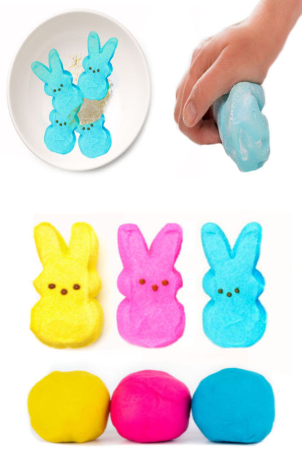 Make play dough for kids using PEEPS Easter candy! #peepsplaydough #playdoughrecipe #peepscraftsforkids #easteractivitiesforkids #growingajeweledrose