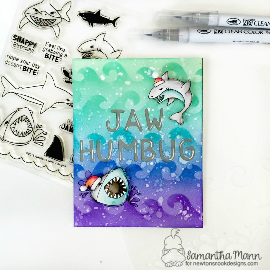 Jaw Humbug Card by Samantha Mann | Shark Bites Stamp Set, Waves & Splashes Stencil and Essential Alphabet Die Set by Newton's Nook Designs #newtonsnook #handmade
