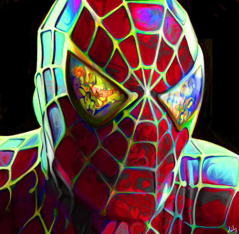 09-Peter-Parker-Spider-Man-Nicky-Barkla-Psychedelic-Celebrity-Portrait-Paintings-www-designstack-co