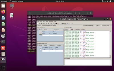 Docklight serial communications running