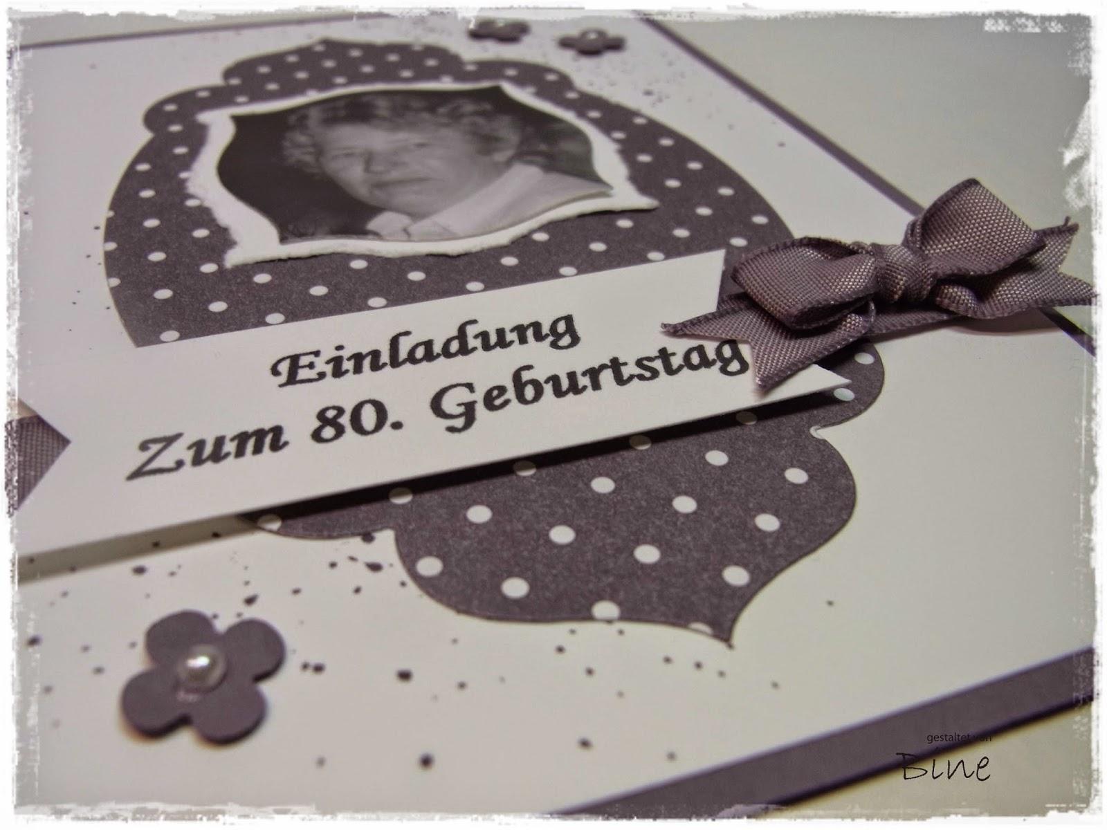 Bines Karten: Einladungen zum 80.Geburtstag