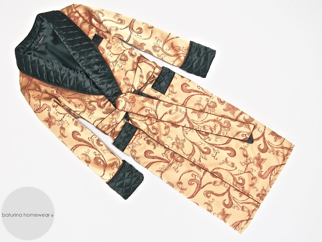 Mens paisley silk jacquard dressing gown quilted robe smoking jacket