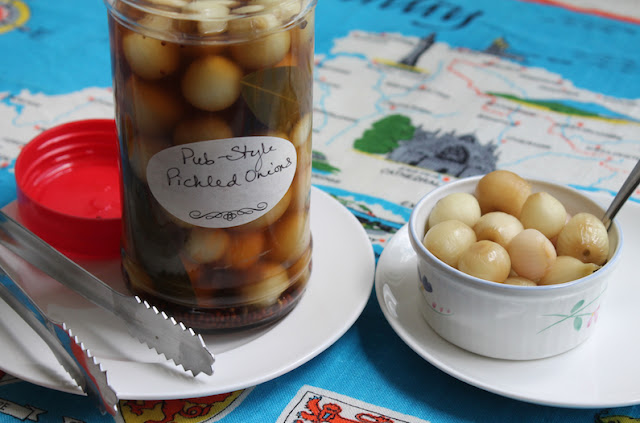 Food Lust People Love: Homemade pub-style pickled onions are easy to make, crunchy and sour with a hint of sweetness, perfect with sharp cheddar cheese or in a dirty or dry martini.