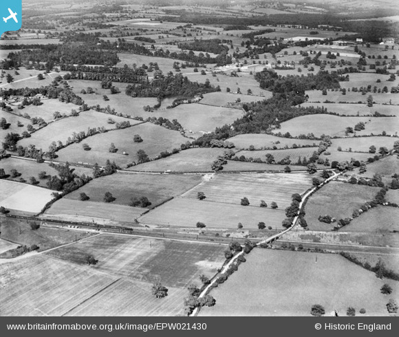 Photograph of Gobions Wood and surrounding countryside, Brookmans Park, 1928 Original Britain From Above caption