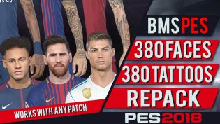 PES 2018 380 Tattoo & Faces Repack dari bmS
