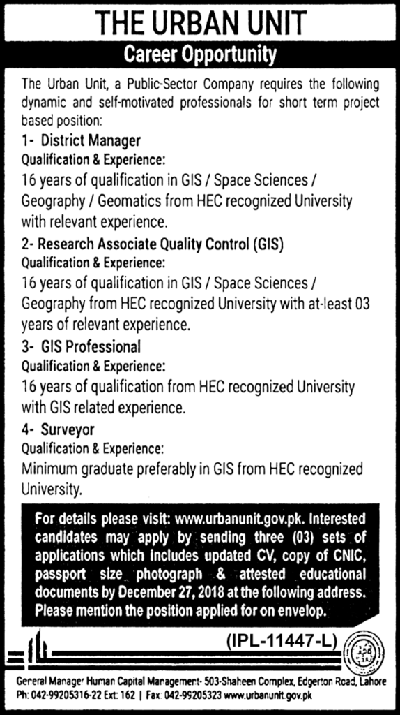 Punjab Government Urban Unit Jobs 2019 Latest New Jobs