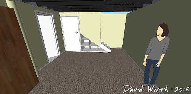 basement remodel design, 3D view