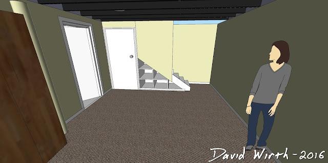 basement remodel design, 3D view