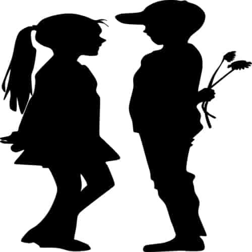 a little boy proposing a little girl