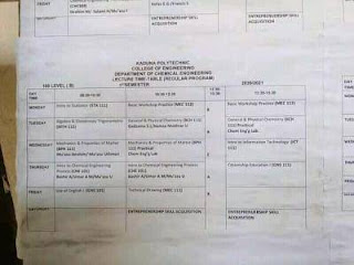 kadpoly lecture timetable