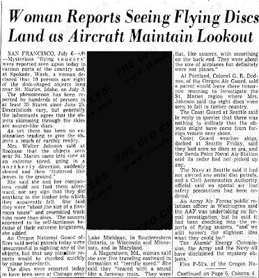 Woman Reports Seeing Flying Disc Land as Aircraft Maintain Lookout - Richmond Times-Dispatch 7-7-1947