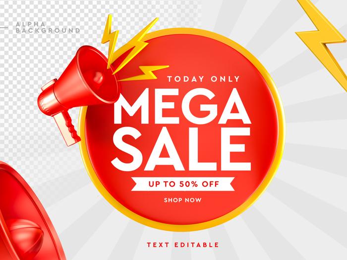 3D Mega Sale Logo With Megaphone 3D Rendering