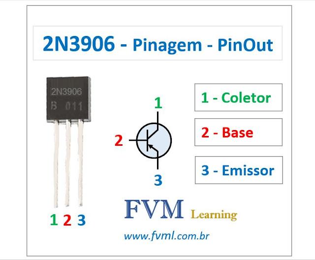 Pinagem - Pinout - Transistor - PNP - 2N3906 - Características