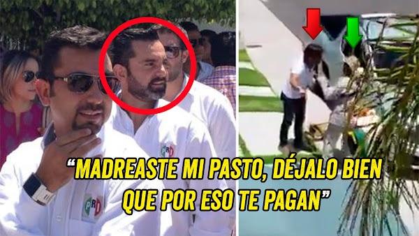 Exhiben a trabajador priista de Querétaro gritando y humillando a jardinero porque le podo mal el pasto de su jardín (VIDEO).'