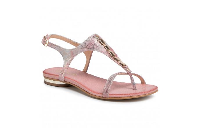 Sandale dama roz cu talpa joasa din piele naturala de vara R.POLAŃSKI