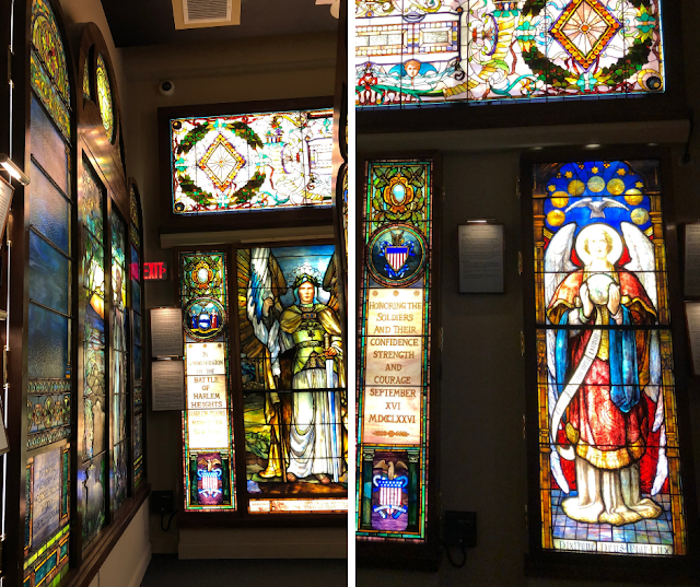 Surrounded by dazzling stained glass works at the Halim Time and Glass Museum in Evanston, Illinois.