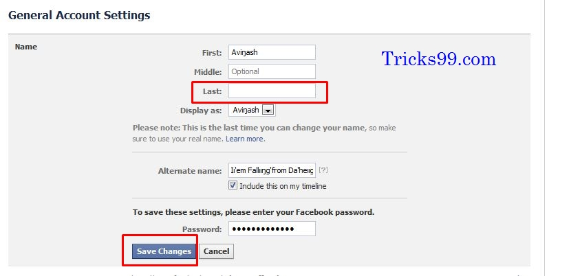 how to delete one name in facebook