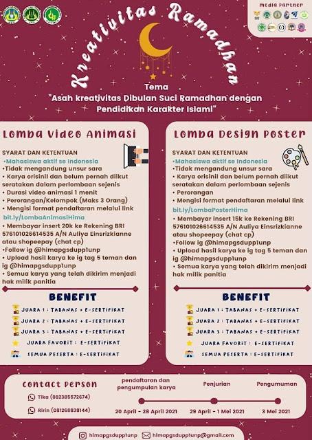 Lomba Video Animasi & Desain Poster KREATIVITAS RAMADHAN