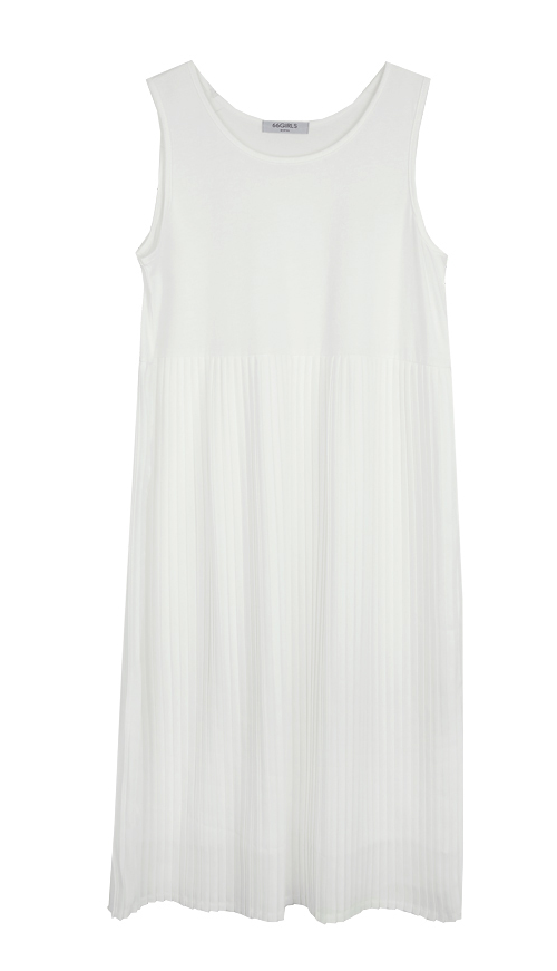 Sleeveless Accordion Pleat Dress