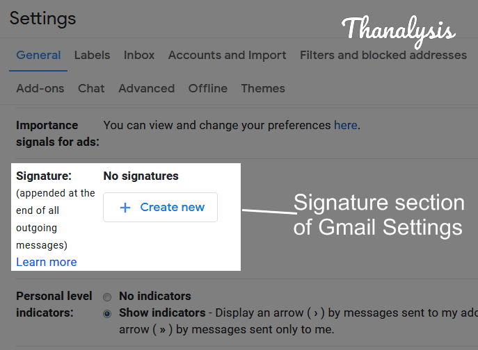 Signature section under the Gmail's General Settings