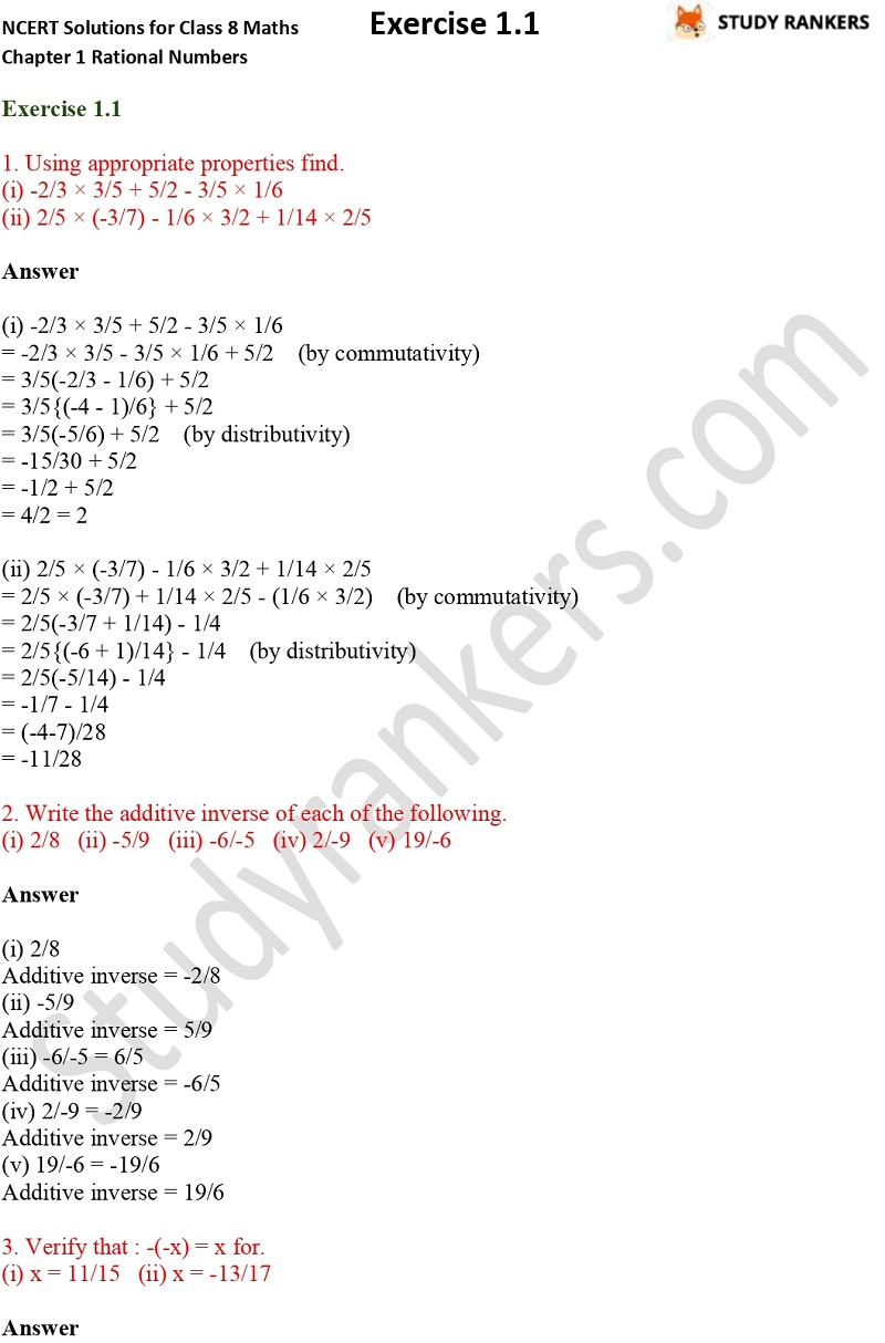 NCERT Solutions for Class 8 Maths Chapter 1 Rational Numbers Exercise 1.1 Part 1