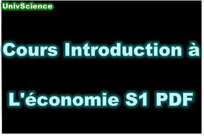 Cours Introduction à L'économie S1 PDF .