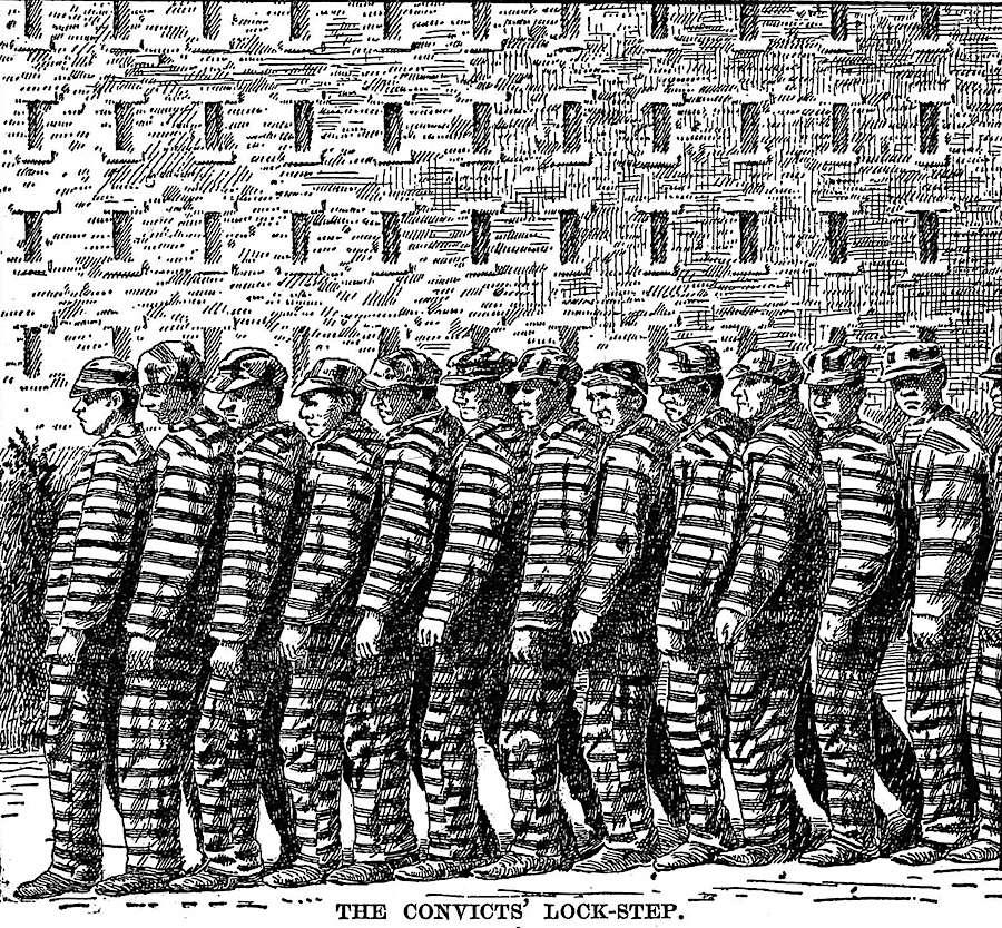 1898 prison lockstep shuffle, an illustration