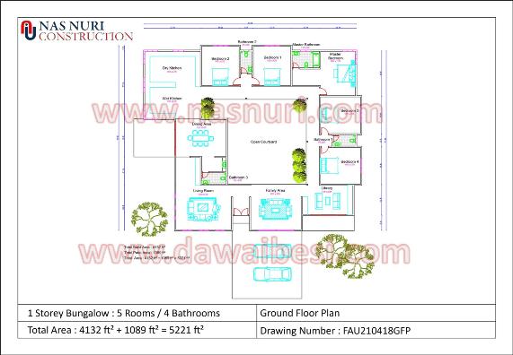 Pelan Rumah Banglo 1 Tingkat 5 Bedroom 4 Bathroom 5221 Kps Menjadi Pilihan Nieyl S Life Story