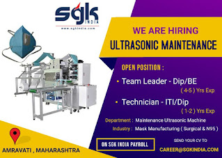Mask Manufacturing Company Amravati, Maharashtra Hiring  ITI/Diploma And BE Candidates For  Technician & Team Leader Post
