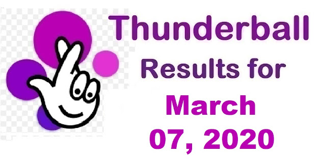 Thunderball Results for Saturday, March 07, 2020