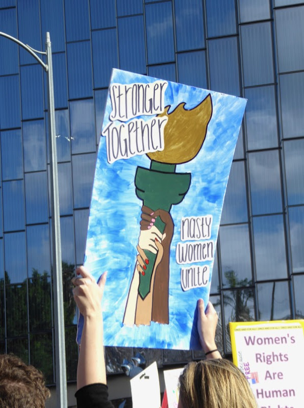 Womens March LA Stronger Together sign