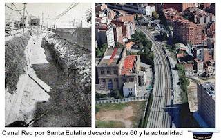 En Santa Eulalia, el Canal de la Infanta iba paralelo a las vías del tren