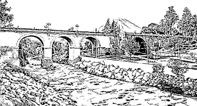 Puente Grau y el Misti para colorear