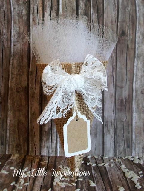 Cuscinetto Porta Fedi Rustico Romantico MLI - cono porta riso