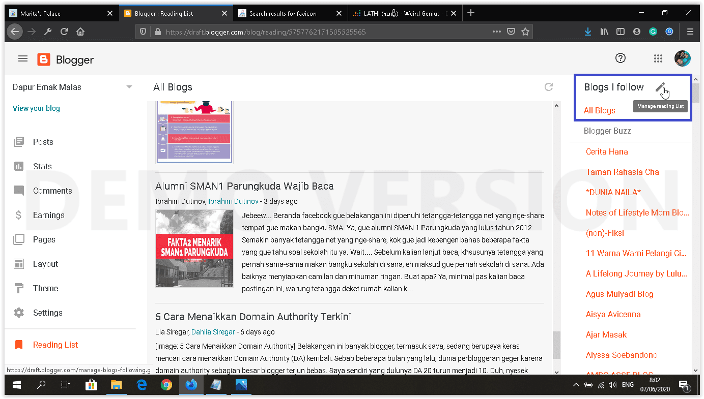 dashboard blogger baru reading list & following