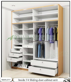 Dalam lemari minimalis sliding cabinet unit F4