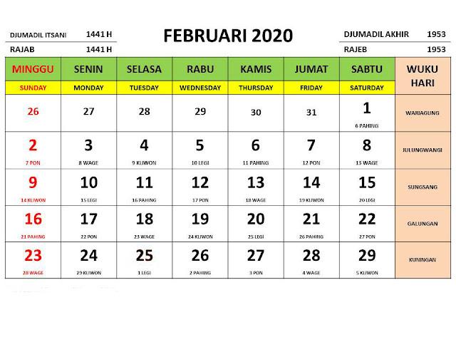 Kalender 2020 Jawa Bulan Februari