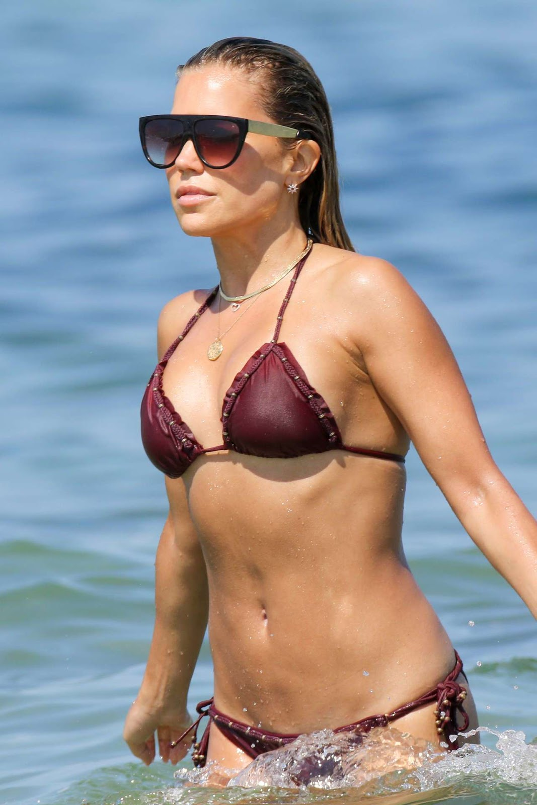 Dutch model Sylvie Meis in Bikini on the Beach in Saint Tropez