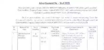 West Bengal Food Department Recruitment