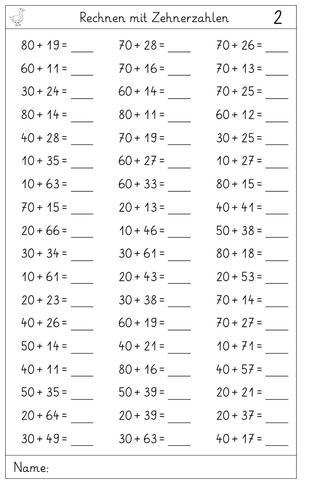 Lernstübchen: Zehnerzahlen plus Zehner und Einer