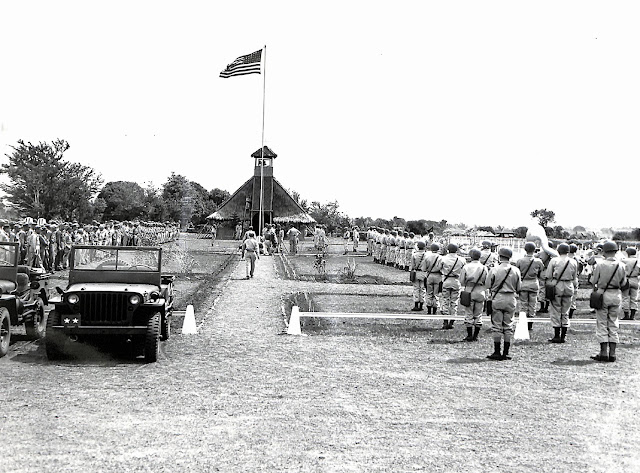 Opening of the Memorial Day services at the Batangas cemetery for members of the 11th Airborne and 1st Cavalry Divisions.  Taken 30 May 1945.