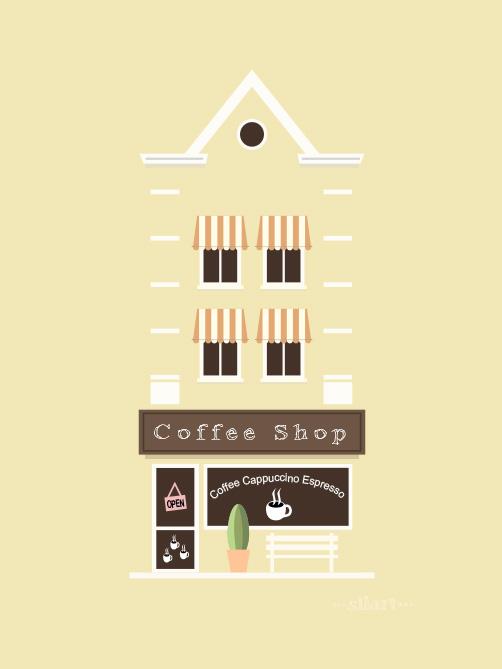 yellow house, coffee shop, flat design, vektorgrafik