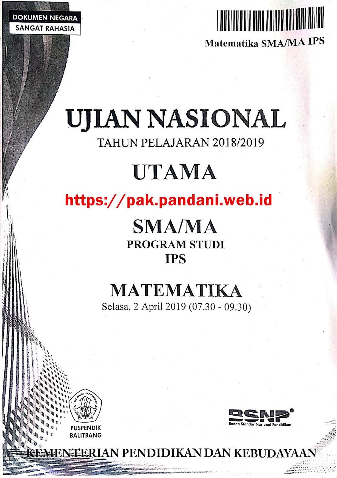 Soal Un Matematika Sma Ips Tahun 2019 Blog Pak Pandani