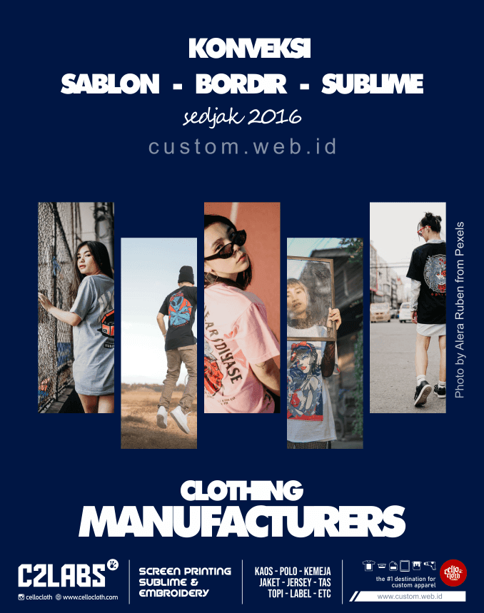 Konveksi Sablon Bordir Sublim Sejak 2016 - Clothing Manufacturesrs Yogyakarta