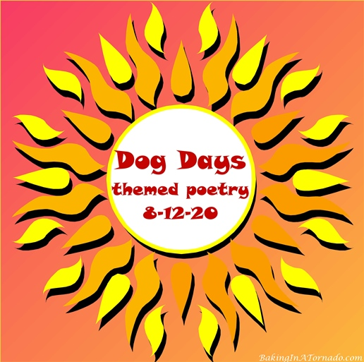 Dog Days, a monthly poetry challenge based on a theme. | Graphic property of www.BakingInATornado.com | #poetry